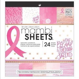 Mambi Sheets 8x8 Cardstock Pink Breast Cancer